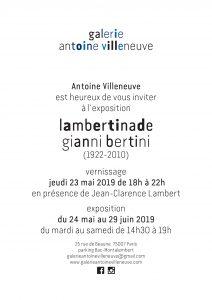 Expo Lambertinade, Galerie Antoine Villeneuve Paris – du 23 mai au 29 juin 2019